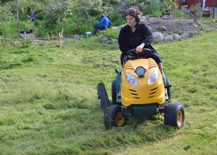 Helena klipper med traktorn